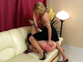 Blonde Mistress Strips Spanks And Abases Timid Submissive Woman