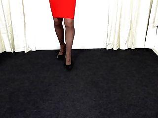 Crimson Miniskirt And Pantyhose.mp4