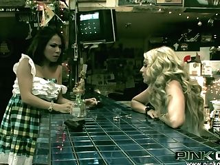 Perverted Sexy Waitresses Relieve By Munching Each Other's Twats In Bar