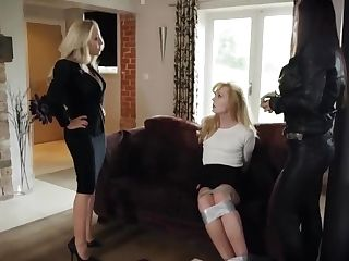 Naive Blondiel Tied Up By Two Femmes