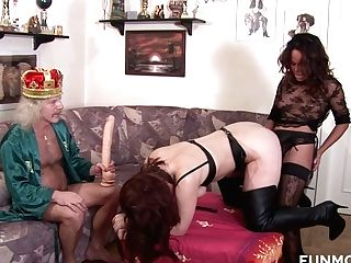 Old King Luvs Watching How Two Strap On Dildo Lesbos Fuck Each Others Cunts