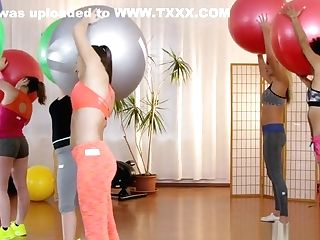Blonde And Dark-hued Eating Sport Coach In Threesome