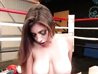 Big Bra-stuffers Lesbos Scissoring In The Boxing Ring