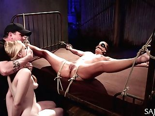 Two Stunners Are Tied Up And Penalized By One Perverse Man